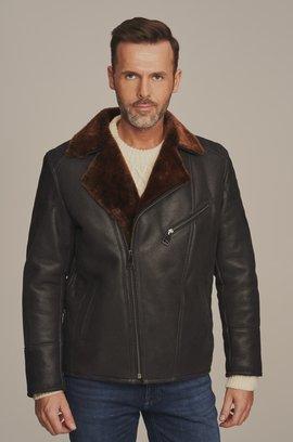 Pánská zimní zateplena kožená bunda - Pánský kožich