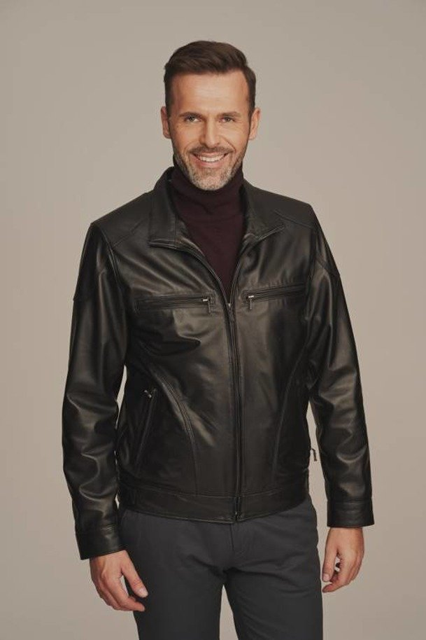Černá kožená bunda pánská