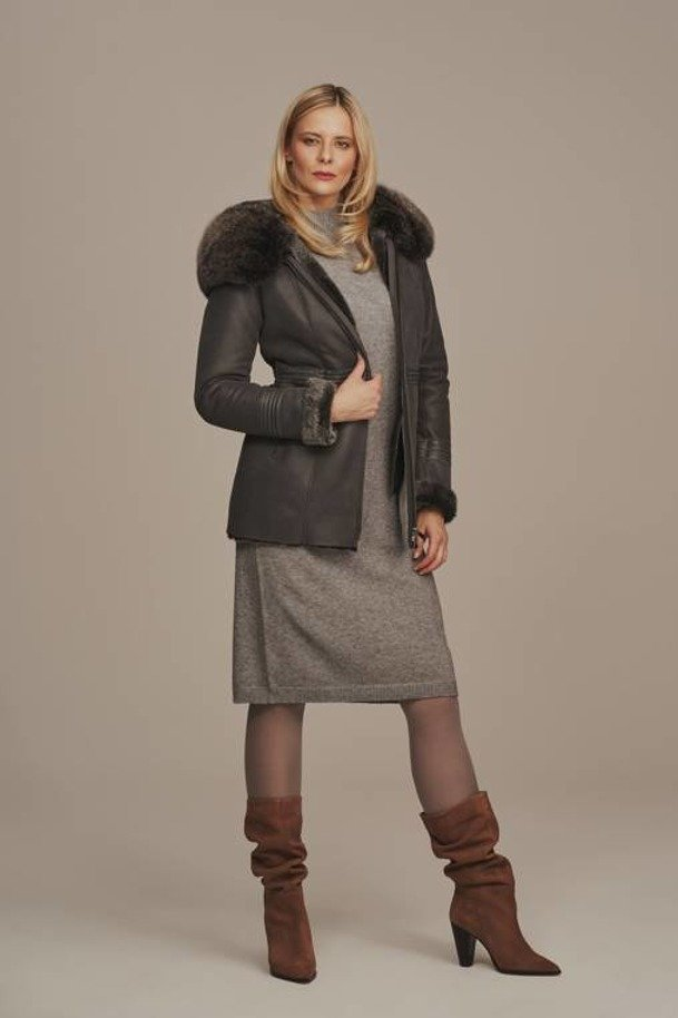 Dámská zimní kožená bunda - Dámský kožich - jehnětina