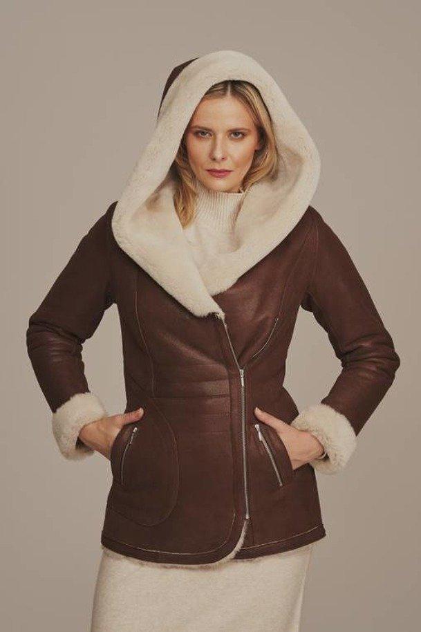 Dámský dubeňák s kapucí - Pravý kožich