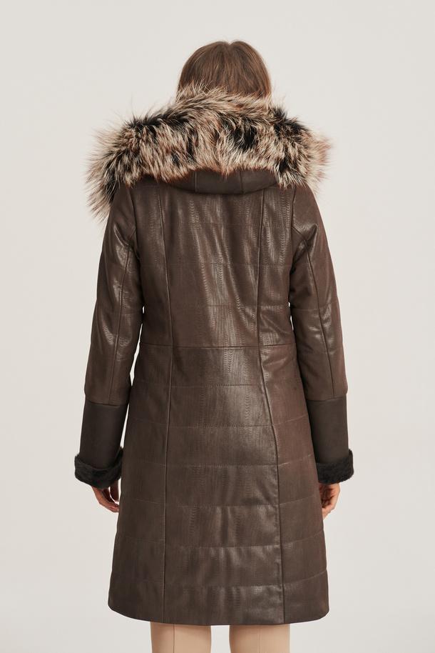 Dámský zimní kožený kabát
