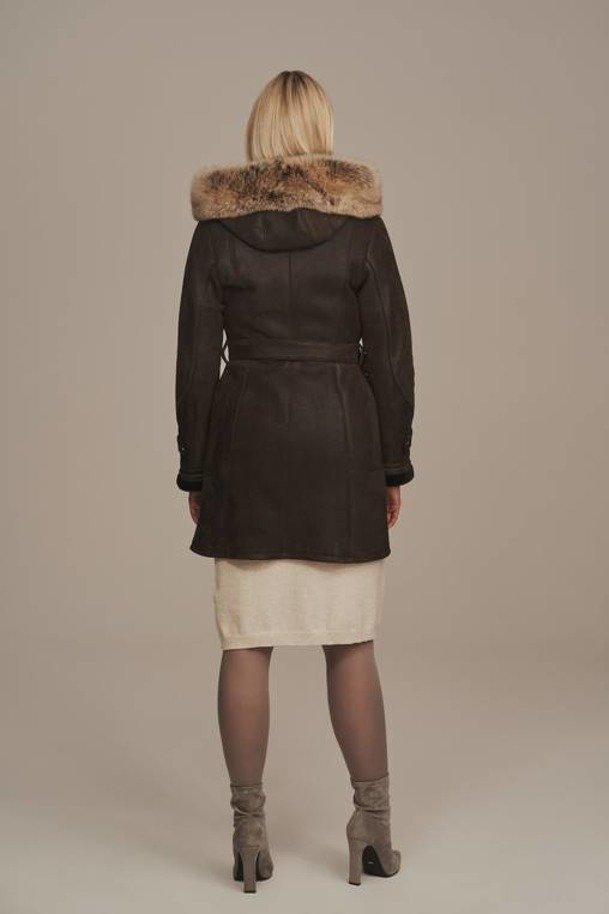 Kožený dámský kabát s kožíškem - Kožich dubeňák