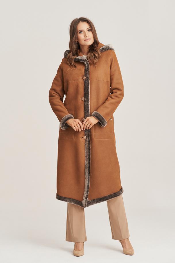 Oboustranný dámský kabát z ovčí kůže - Dámská kožešina s kapucí