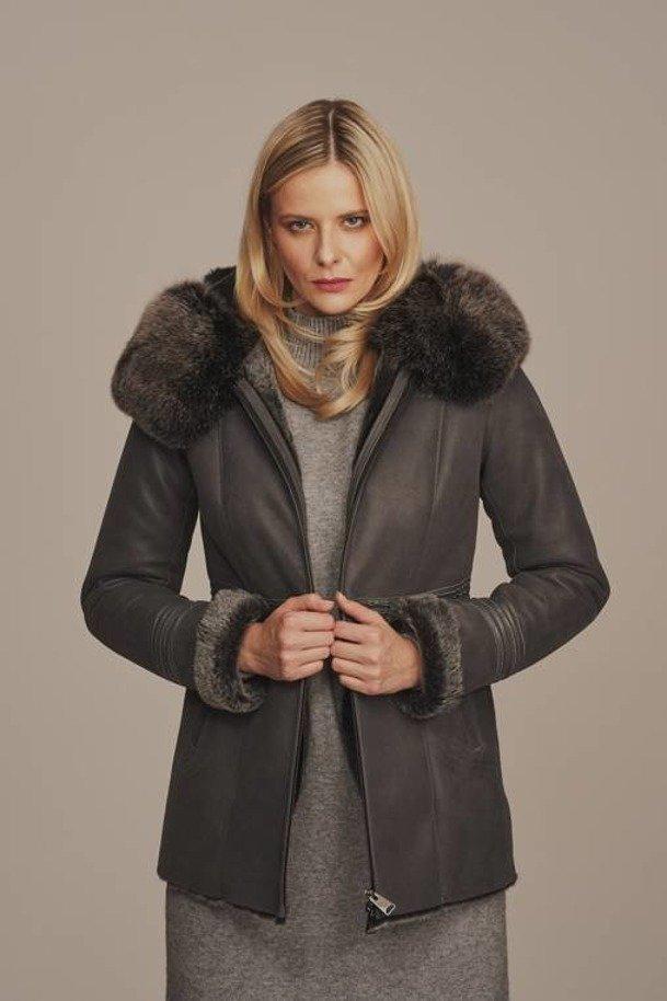 Grey sheepskin jacket womens