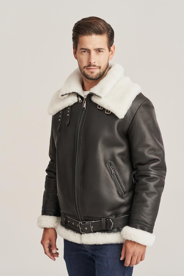Men's sheepskin aviator style flying jacket