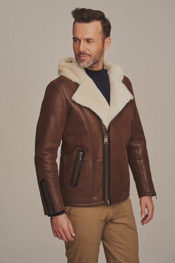 Mens sheepskin coat with a hood