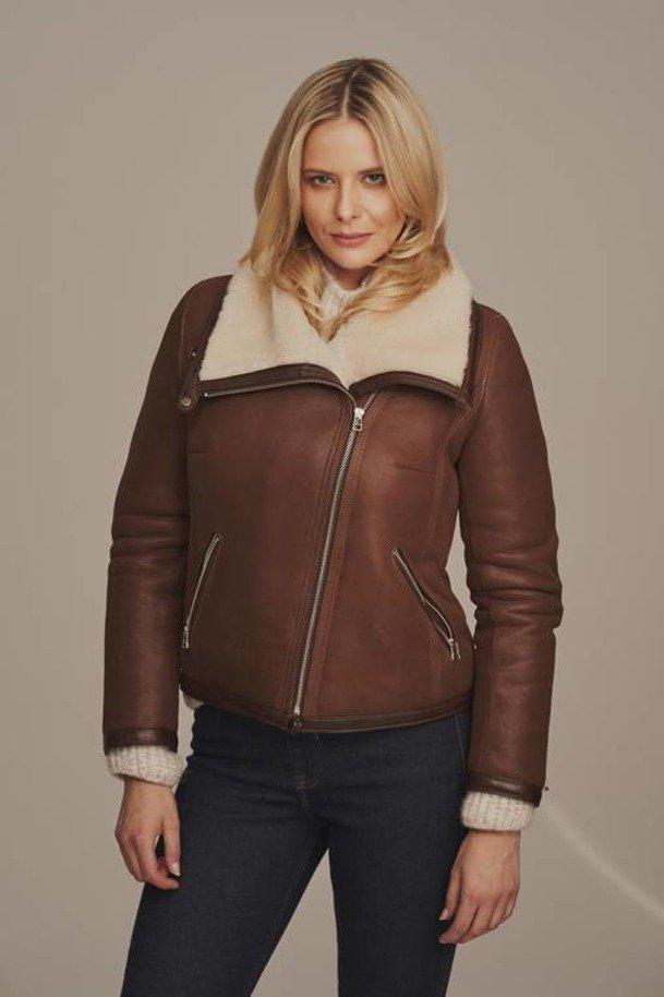 Women's sheepskin biker jacket