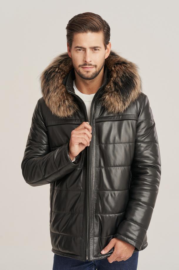 Herren Winter Leder Jacke mit Fellkapuze