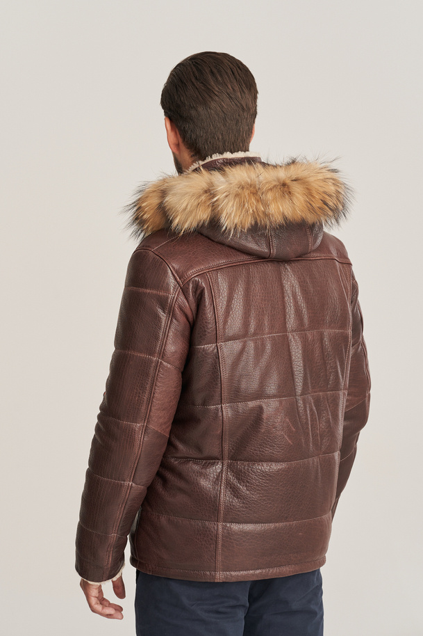 Herren Winter Leder braune Jacke mit Fellkapuze