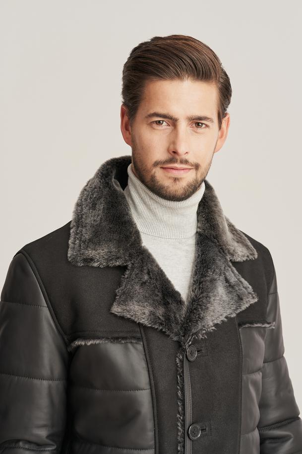 Herren Winter Lederjacke mit Fell