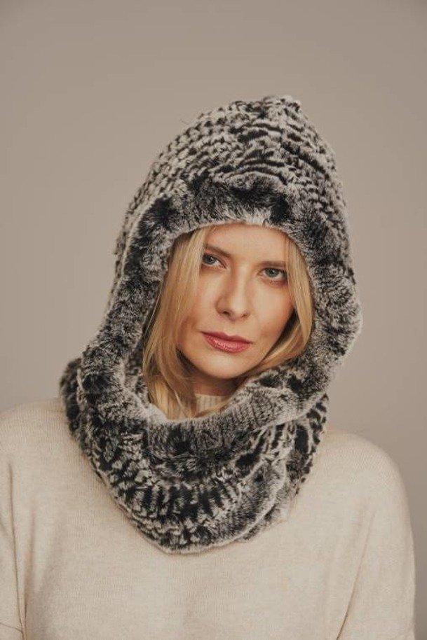 Rabbit fur hooded winter scarf