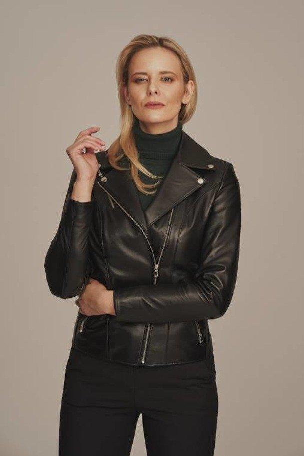 Womens leather biker jacket
