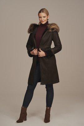 Kożuch damski zimowy z kapturem - Płaszcz skórzany damski z futrem