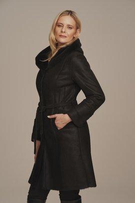 Płaszcz damski z kapturem zimowy