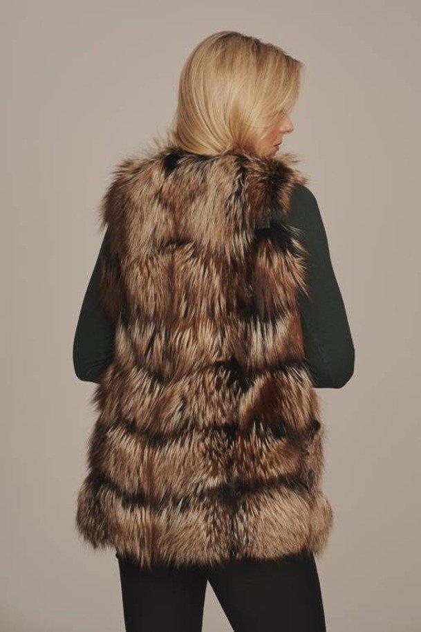 Futrzana kamizelka z naturalnego futra lisa