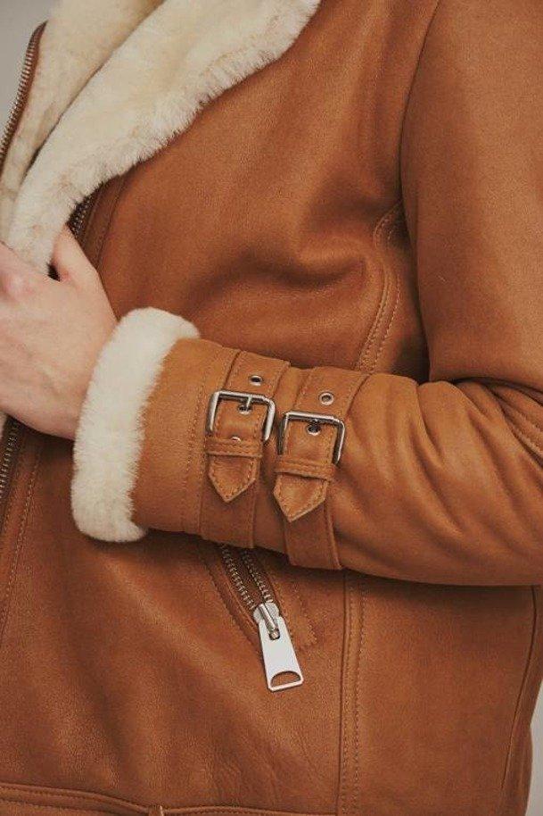 Kurtka pilotka damska zimowa - Ramoneska kożuszek