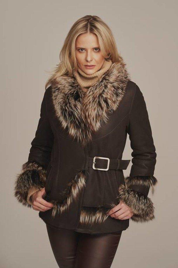 Kurtka zimowa damska - Kożuch damski z futerkiem