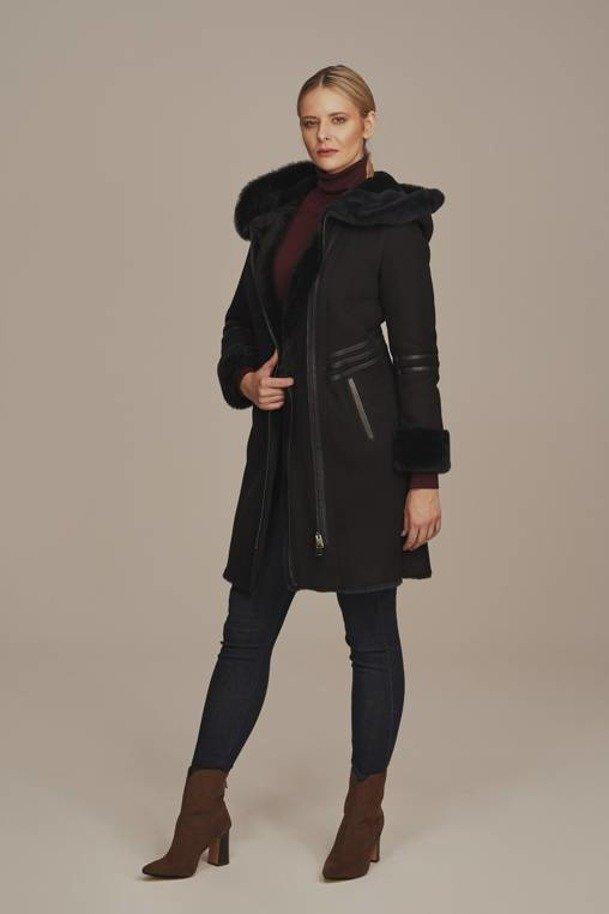 Płaszcz damski zimowy Kożuch z kapturem