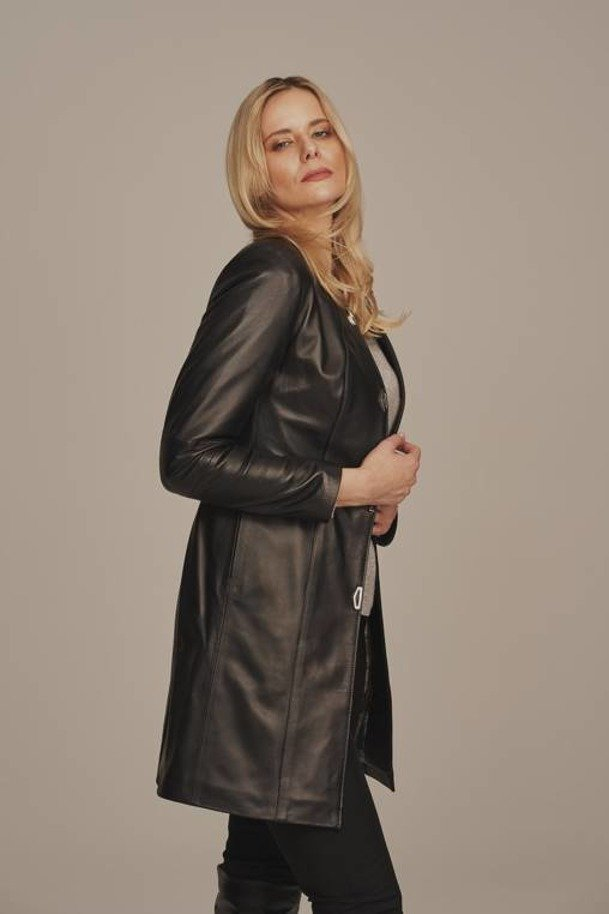 Płaszcz skórzany damski długi