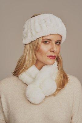 Kožušinová biela zimná čelenka