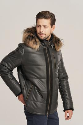 Pánska zimná čierna kožená bunda s kapucňou