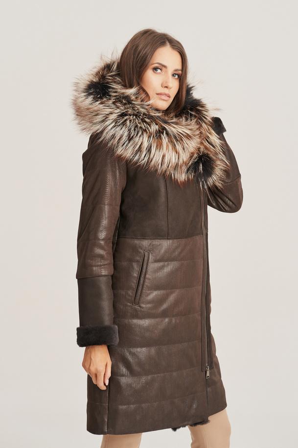 Dámsky zimný kožený kabát
