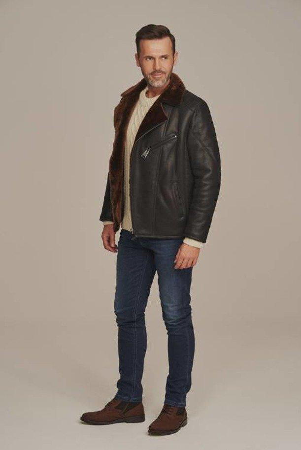 Pánska čierna zimná bunda na zips